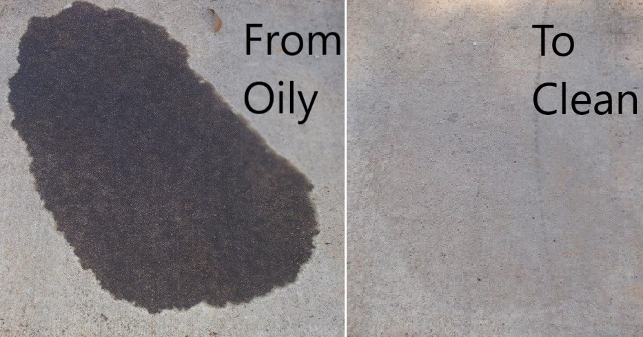how to get oil out of concrete